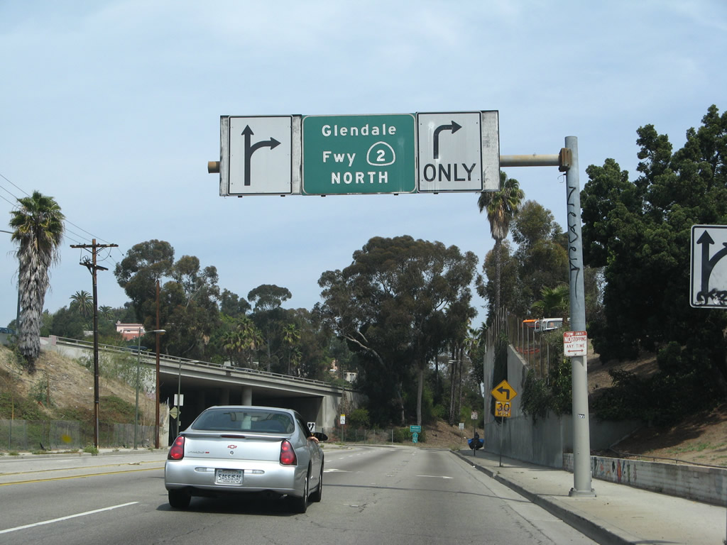 An Overhead Sign Advises Of The Connection From Glendale Boulevard To The Glendale Freeway For California 2 East North The Freeway Segment Of California