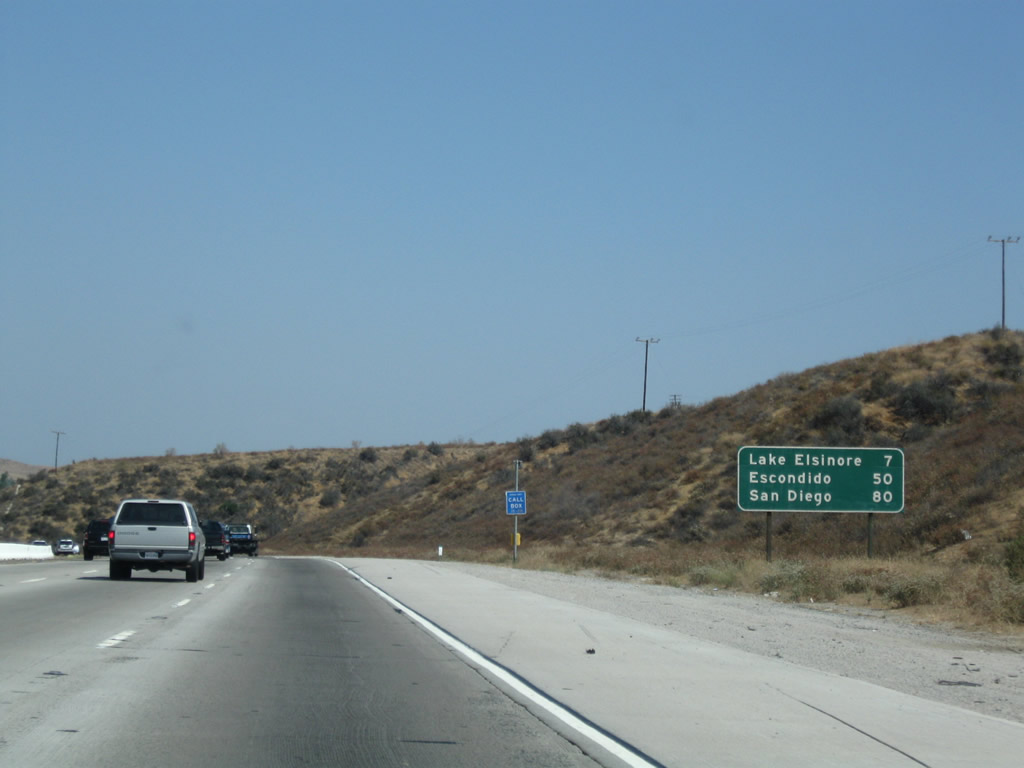 Distance from Murrieta, CA to San Diego, CA, miles and hours