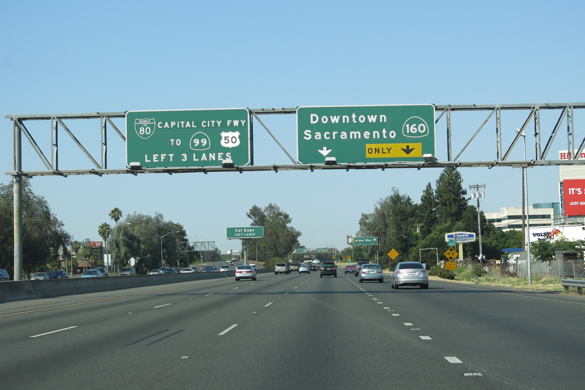 California Map Hwy 99%0A Westbound Business Loop I   next approaches Exit   A  Arden Way  and Exit   B  California      North Sacramento Freeway  southwest