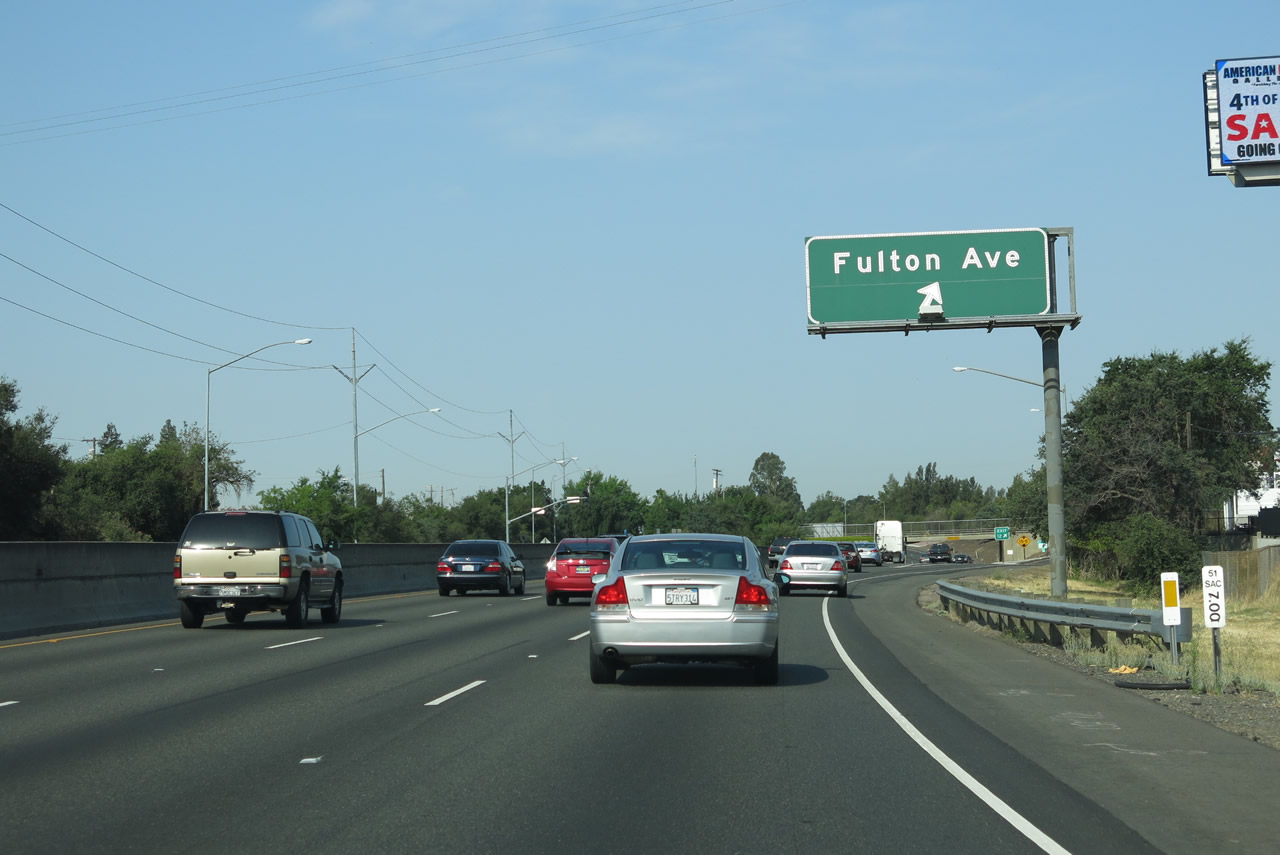 California Map Hwy 99%0A Westbound Business Loop I   and southbound California    Capital City  Freeway meet Exit     Fulton Avenue  Business Loop I   is considered to be  below