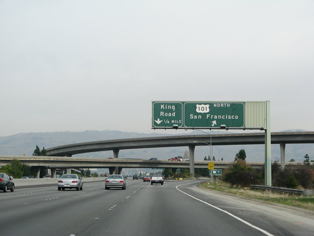 Interstate 280 ends at the interchange with