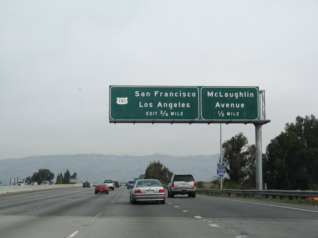 The final three exits on Interstate 280