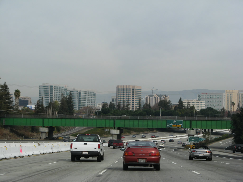 Downtown San Jose comes into view as