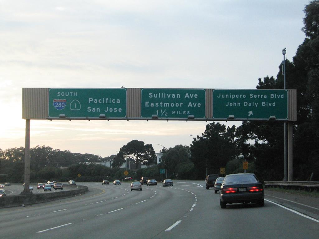 California Aaroads Interstate 280 South San