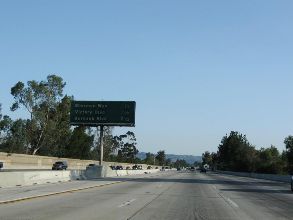 This Mileage Sign Provides The Distance To The Next Three Exits Along Southbound Interstate 405 Sango Freeway Exit 66 Sherman Way Exit 65