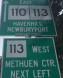 MA 110 and 113, eastern concurrency, Methuen, MA