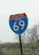 State-named I-69 marker in Bloomington, Ind. construction zone