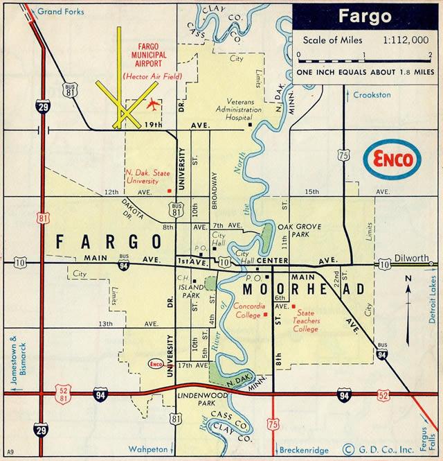 North Dakota AARoads US Highway Business Loop Interstate - Us highway 10 map