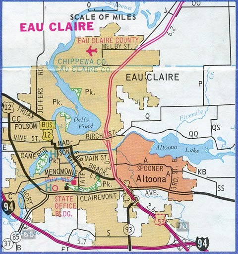 Former U.S. 12 Business through Eau Claire - 1989-90 Wisconsin Official Highway Map