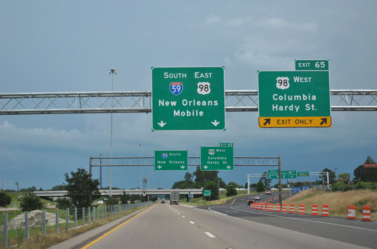 Interstate 59 South - Ellisville to Hattiesburg - AARoads