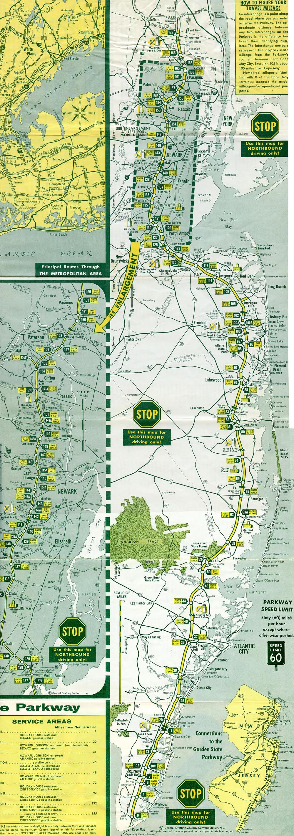 New jersey aaroads garden state parkway for Directions to garden state parkway south
