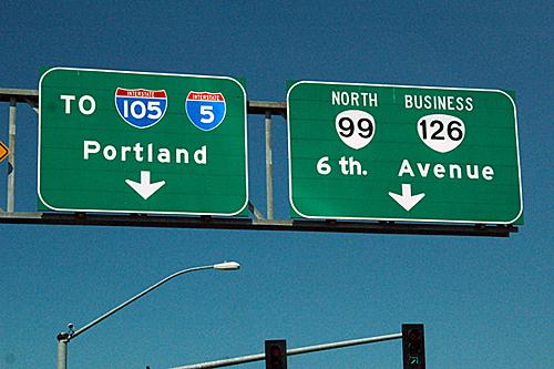 interstate 105, interstate 5, Oregon 99, business Oregon 126
