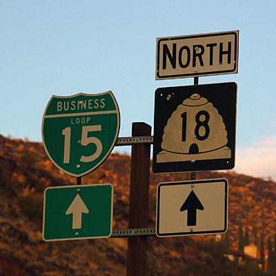 Utah U. S. highway 91, Utah state route 18, Utah business loop 15