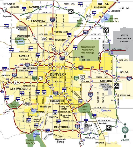 Colorado AARoads Denver - Denver county map