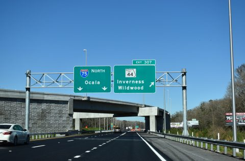 Florida's Turnpike north at I-75/SR 44 - Wildwood
