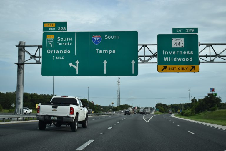 I-75 south at Florida's Tpk/SR 44 - Wildwood