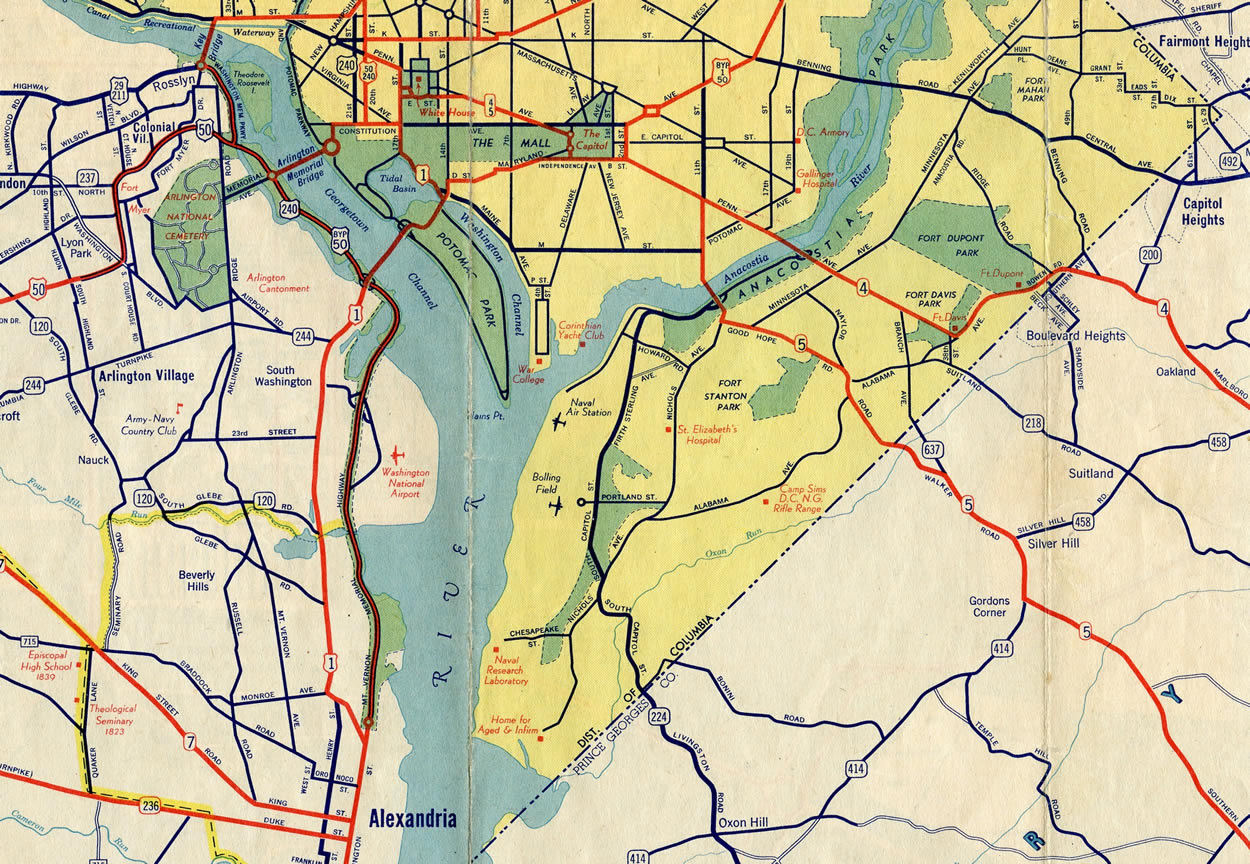 Washington DC 1942 Map AARoads