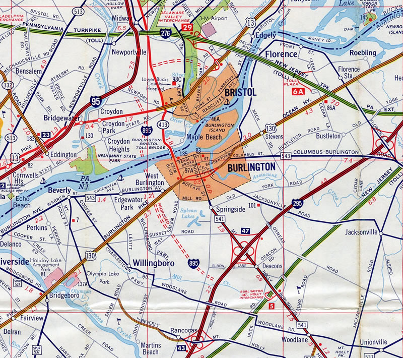 interstate 895 would have connected i 295 near willingboro new jersey with i 95 near bristol pennsylvania 1974 map