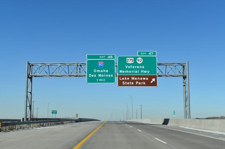 I-29/U.S. 275 north at Iowa 92 - Council Bluffs