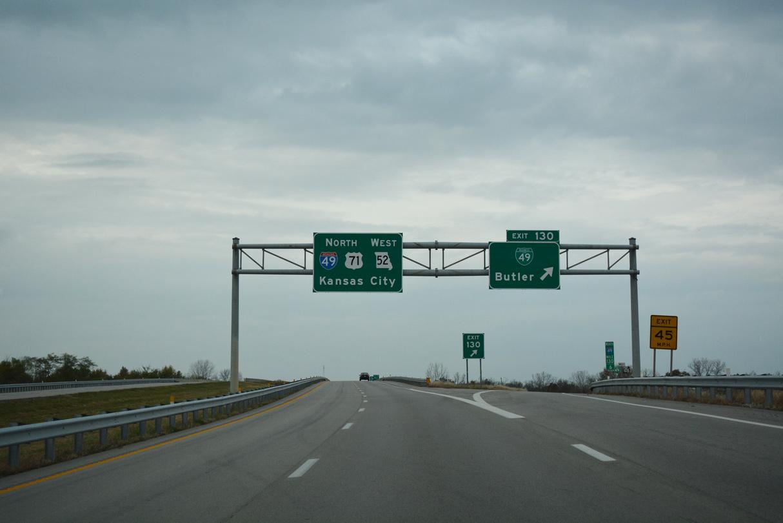I-49/US 71 north at Business Loop I-49 - Butler, MO