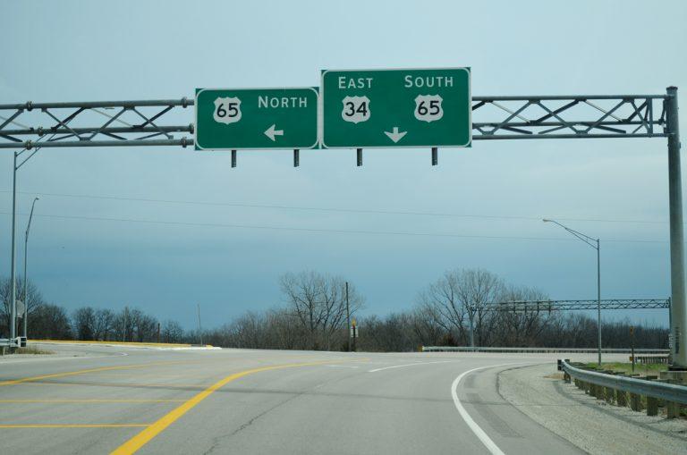 US 34 east at US 65 - Lucas, IA