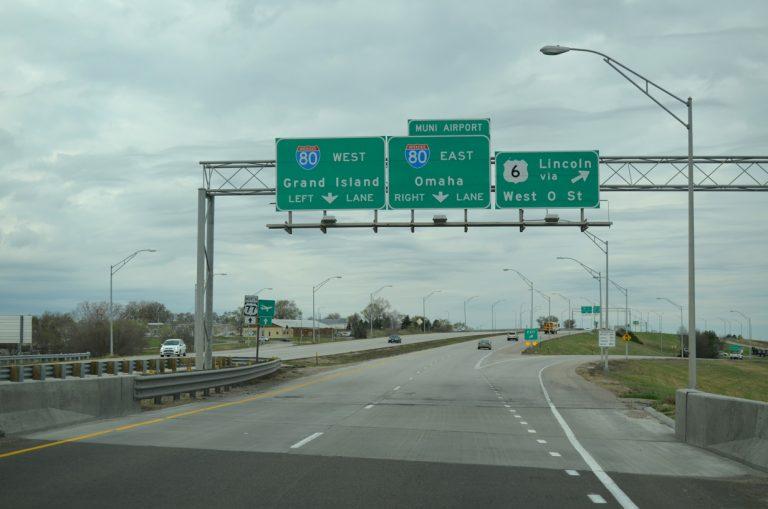 US 77 north at US 6/I-80 - Lincoln, NE