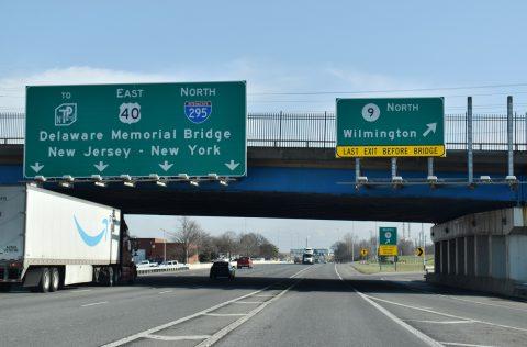 I-295/US 40 north at SR 9 - New Castle, DE