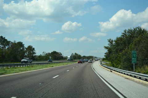 Florida's Turnpike north at milepost 277.