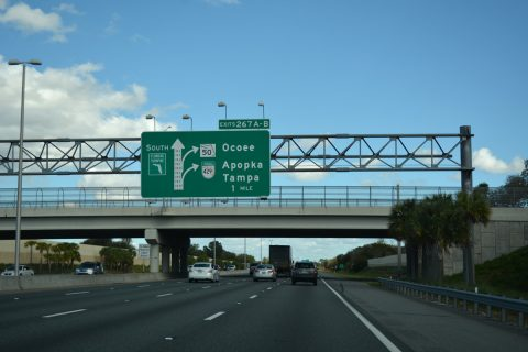 Florida's Turnpike south ahead of the Western Beltway and SR 50 at Ocoee.