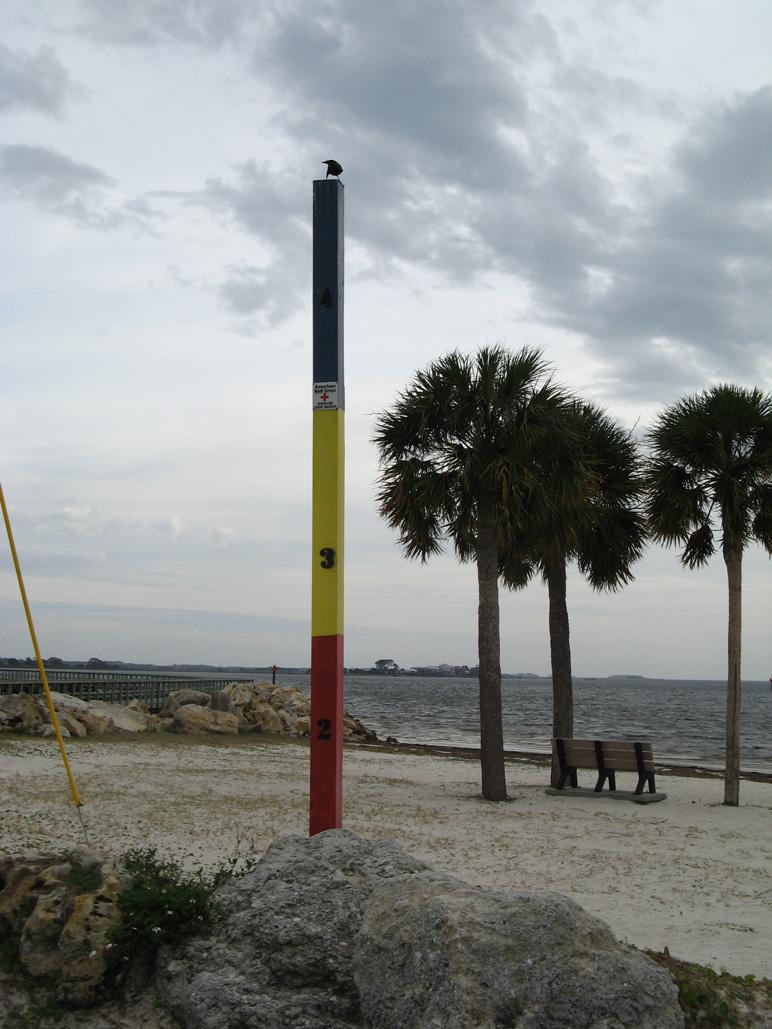 Storm surge marker at Keaton Beach, FL