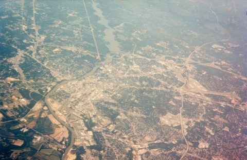 Aerial view of Columbus from April 1995.