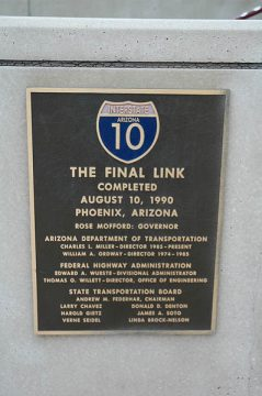 I-10 - The Final Link Plaque - Phoenix, Arizona
