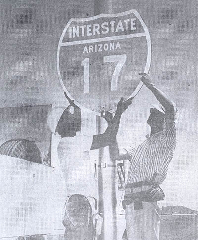 1965 Interstate 17 sign installation