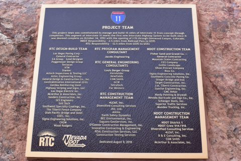 Interstate 11 Project Team placard