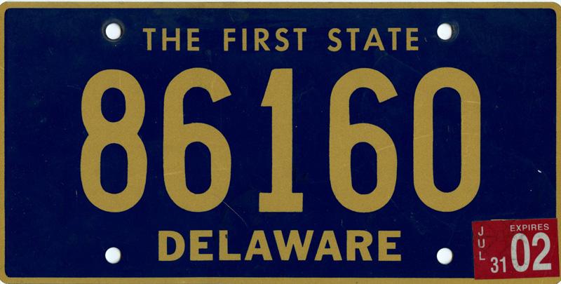 2002 Delaware Tag