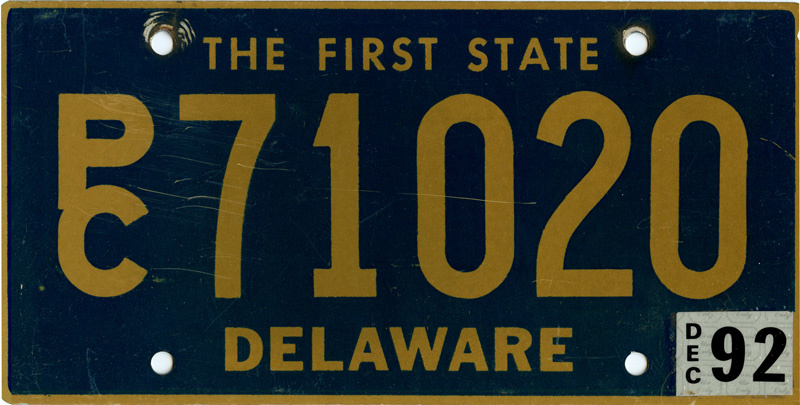 Delaware Passenger Car Tag