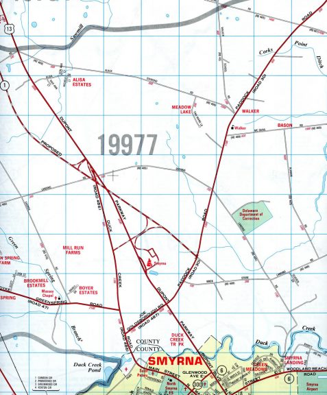 1992 map showing the temporary realignment of U.S. 13 at Duck Creek Road and future interchange with SR 1 north of Smyrna.