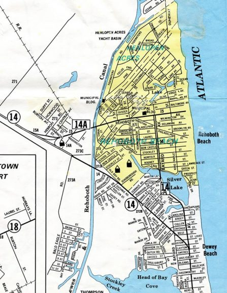 1970s map of Dewey and Rehoboth Beach, Delaware.