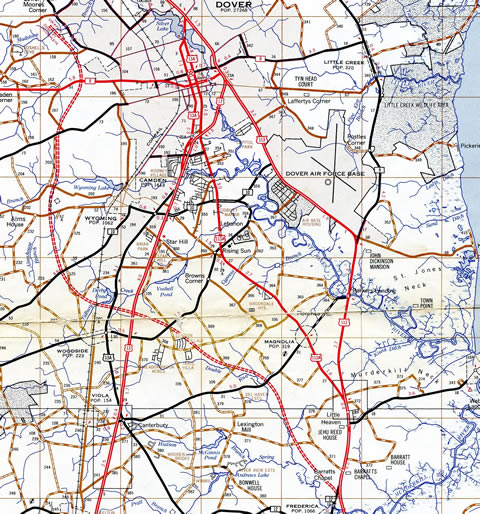 1970s general highway map showing an early concept for a limited access road extending north from Frederica to bypass the west side of Dover.