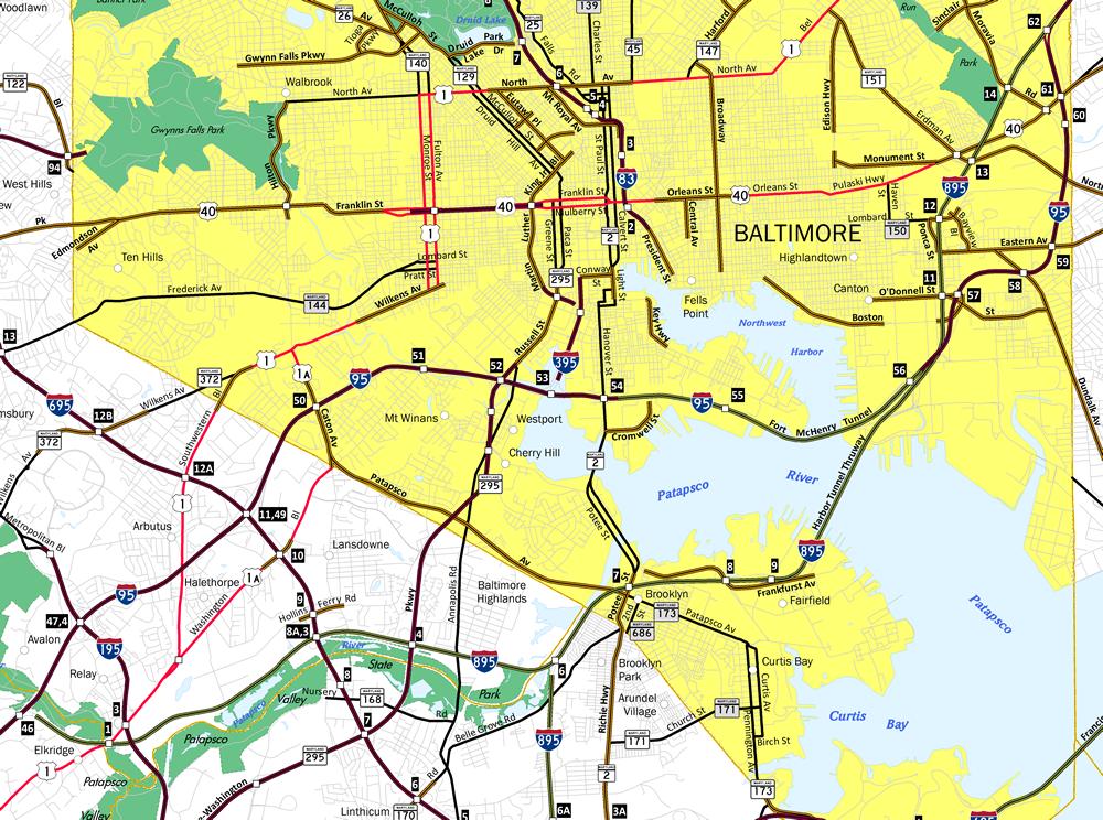 Baltimore Harbor Tunnel Thruway Map
