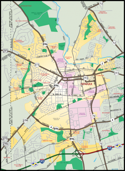 Newark, Delaware state route map - created October 2007.
