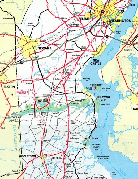 The route of U.S. 301 North and South in 1972.