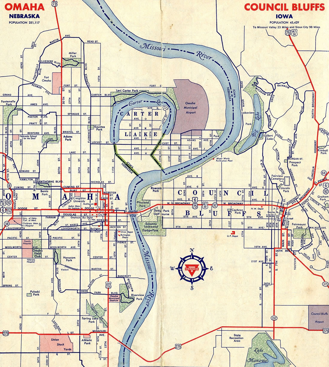 Omaha, Nebraska and Council Bluffs, Iowa in 1956.