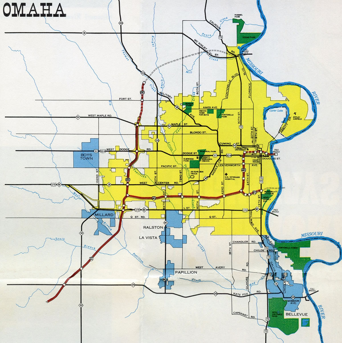 Omaha - 1969 Nebraska Official Highway Map