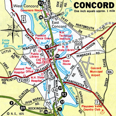 Concord - 1975 New Hampshire Official Highway Map