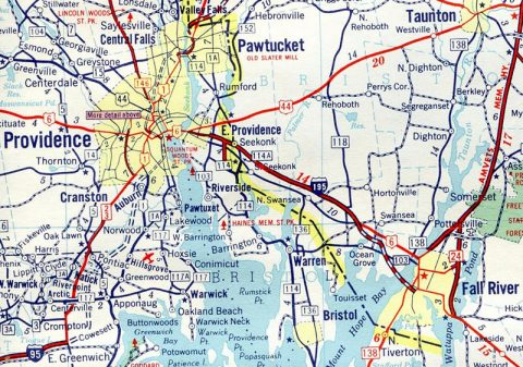 I-195 Providence to Fall River - 1961 Map