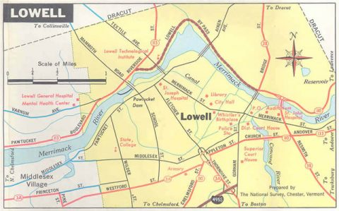Lowell - 1970 Massachusetts Official Highway Map