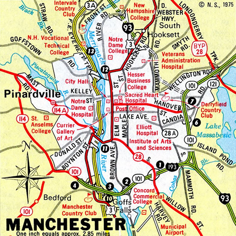 Manchester - 1975 New Hampshire Official Highway Map