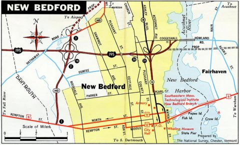 New Bedford - 1971 Massachusetts Official Highway Map