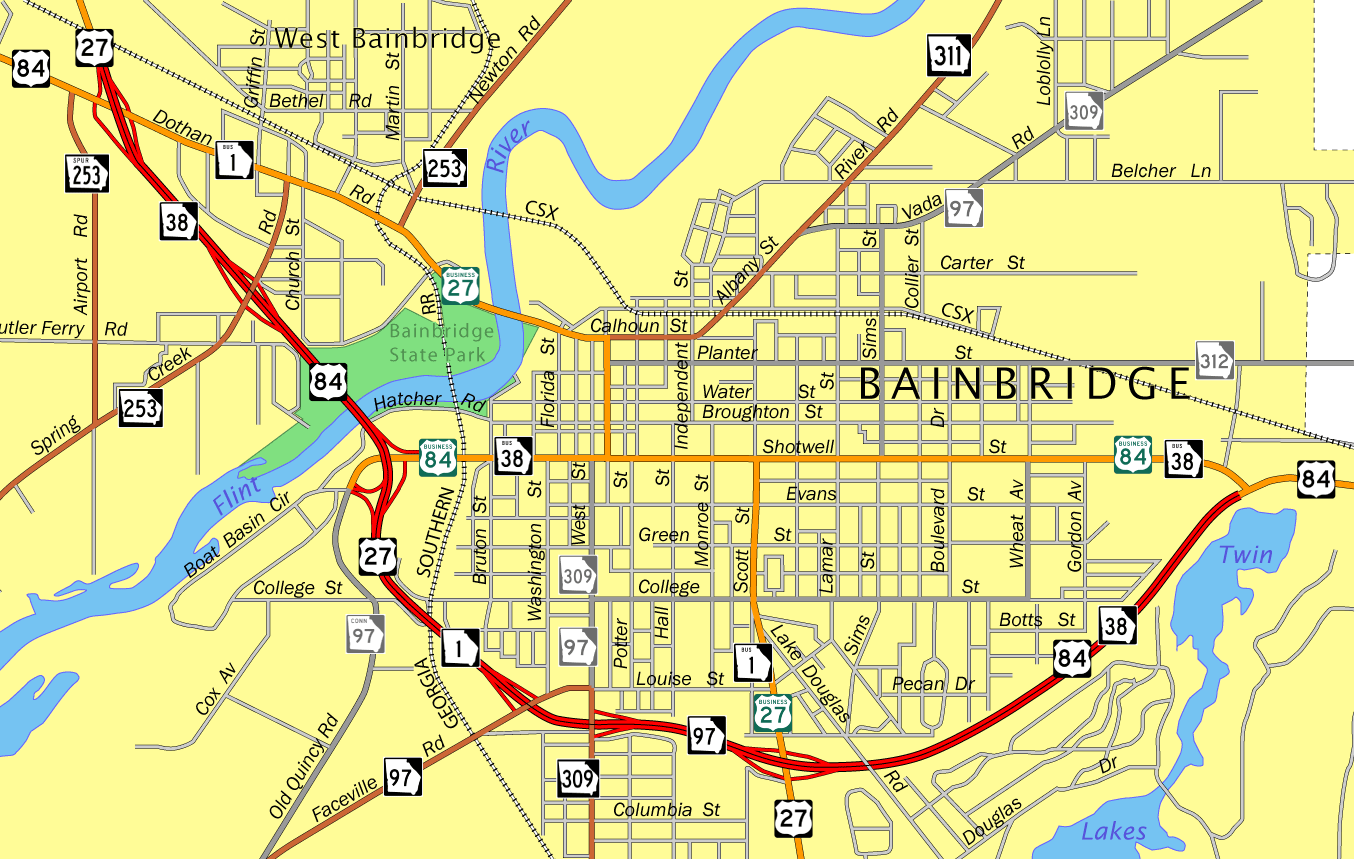 Bainbridge, GA Map